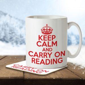 Keep Calm and Carry On Reading – Mug and Coaster