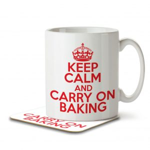 Keep Calm and Carry On Baking – Mug and Coaster