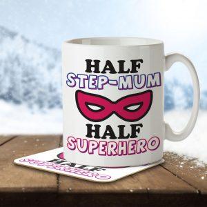 Half Step-Mum Half Superhero – Mug and Coaster