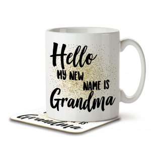 Hello My New Name is Grandma – Mug and Coaster