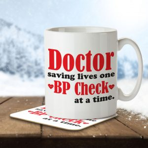 Doctor Saving Lives One BP Check at a Time – Mug and Coaster
