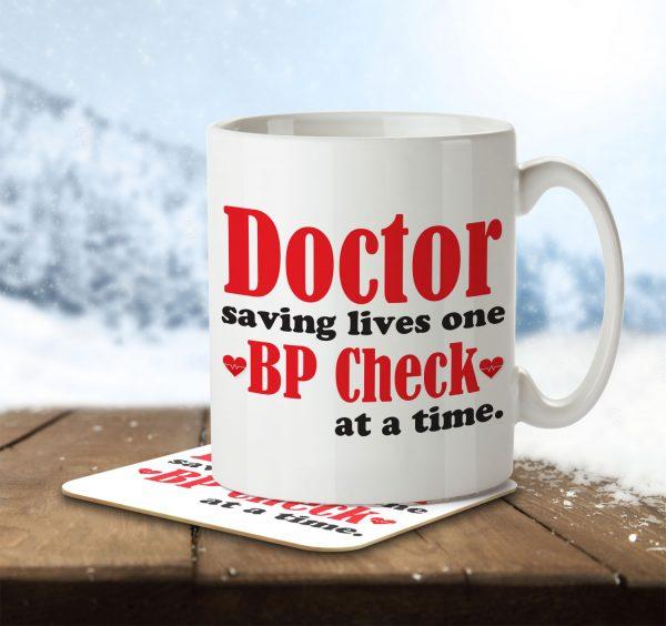 Doctor Saving Lives One BP Check at a Time - Mug and Coaster - MNC SAV 004 ENV