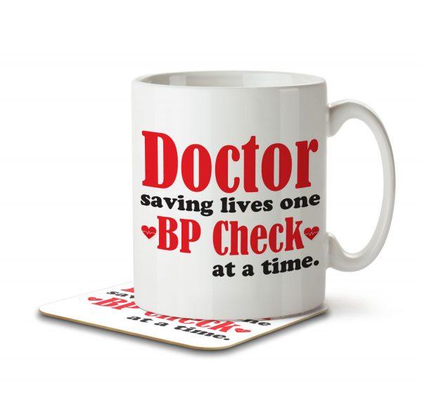 Doctor Saving Lives One BP Check at a Time - Mug and Coaster - MNC SAV 004 WHITE