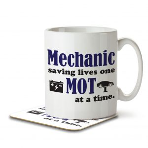 Mechanic Saving Lives One MOT at a Time – Mug and Coaster