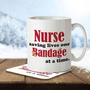 Nurse Saving Lives One Bandage at a Time – Mug and Coaster