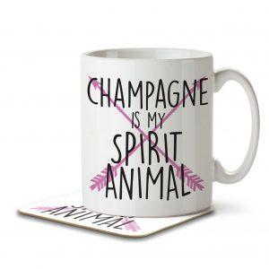 Champagne is my Spirit Animal – Mug and Coaster