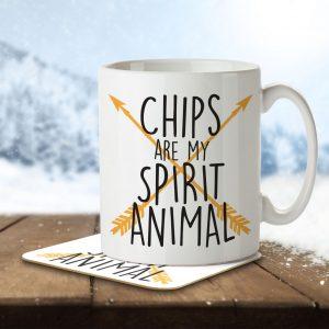 Chips are my Spirit Animal – Mug and Coaster