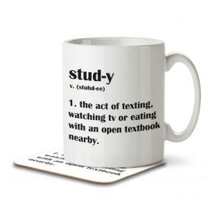 Study Funny Definition – Mug and Coaster