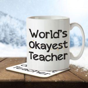 World's Okayest Teacher – Mug and Coaster