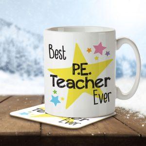 Best P.E. Teacher Ever – Mug and Coaster