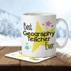 Best Geography Teacher Ever – Mug and Coaster