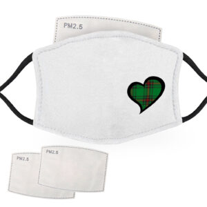 Green Tartan – Love Heart – Adult Face Masks – 2 Filters Included