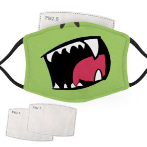 Green Monster Face – Adult Face Masks – 2 Filters Included