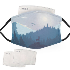 Deer in a Mountainous Forest Landscape – Adult Face Masks – 2 Filters Included