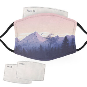 Mountains and Forest with Birds Landscape – Adult Face Masks – 2 Filters Included