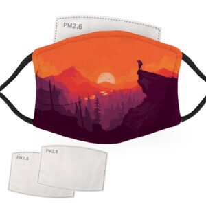 Hiker in a Beautiful Sunset – Adult Face Masks – 2 Filters Included