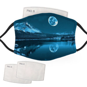 Lake and Moon Landscape – Adult Face Masks – 2 Filters Included