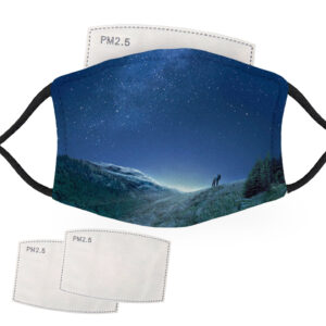 Hikers in a Starry Night Sky – Adult Face Masks – 2 Filters Included