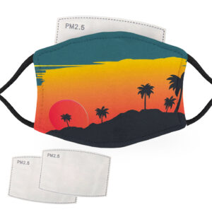 Palm Trees in the Sunset – Adult Face Masks – 2 Filters Included