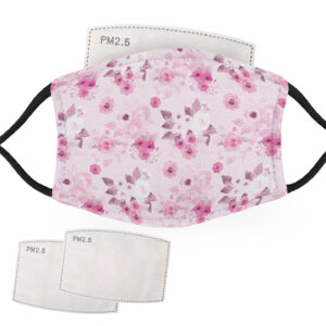 Pink Flowers with Pink Background – Adult Face Masks – 2 Filters Included