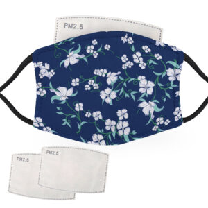 White Flowers with Blue Background – Adult Face Masks – 2 Filters Included