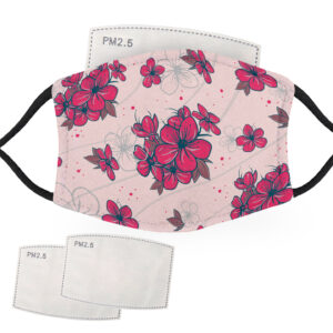 Red Flowers with Pink Background – Adult Face Masks – 2 Filters Included