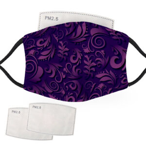 Purple Flower Pattern – Adult Face Masks – 2 Filters Included
