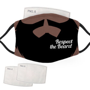 Respect the Beard – Dark Skin – Adult Face Masks – 2 Filters Included