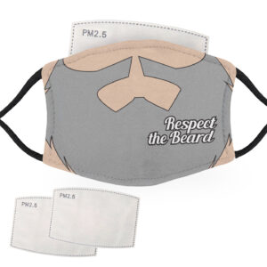 Respect the Beard – Grey Beard, Pale Skin – Adult Face Masks – 2 Filters Included