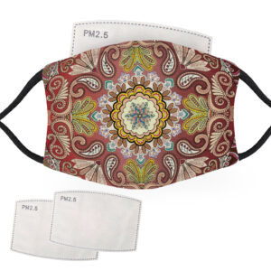 Green, Red & Gold Bandana Design – Adult Face Masks – 2 Filters Included