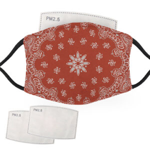 Red Bandana Design – Adult Face Masks – 2 Filters Included