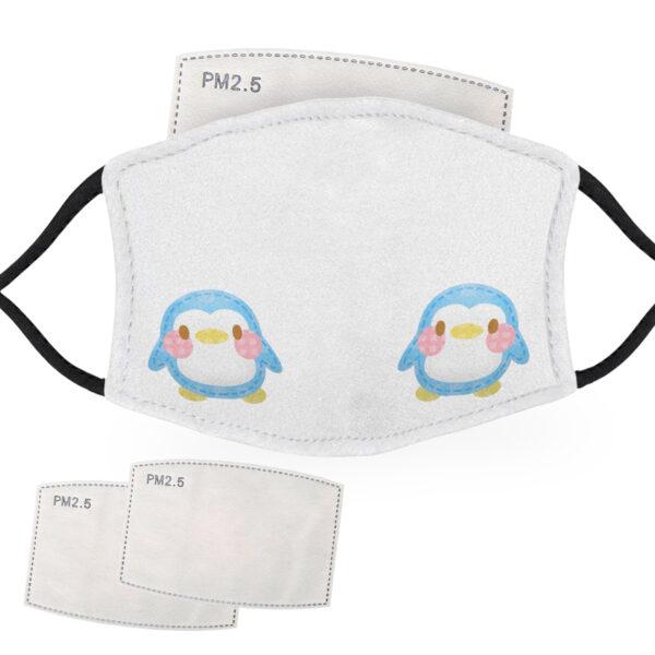 Cute Blue - Penguin Design - Adult Face Masks - 2 Filters Included - AFM 0117