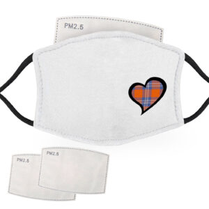 Blue and Orange Tartan – Love Heart – Child Face Masks – 2 Filters Included