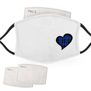Blue Tartan – Love Heart – Child Face Masks – 2 Filters Included