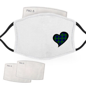 Blue and Green Tartan – Love Heart – Child Face Masks – 2 Filters Included