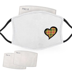 Green, Red and Yellow Tartan – Love Heart – Child Face Masks – 2 Filters Included