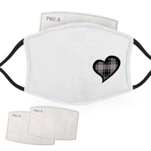Black and Grey Tartan – Love Heart – Child Face Masks – 2 Filters Included
