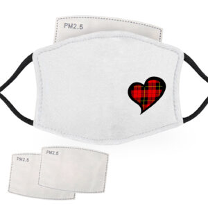 Black and Red Tartan – Love Heart – Child Face Masks – 2 Filters Included