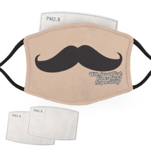With Great Tash, Comes Great Responsibility Moustache – Pale Skin – Child Face Masks – 2 Filters Included