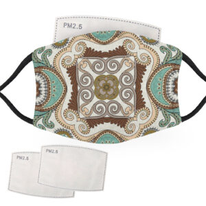 Green & Gold Bandana Design – Child Face Masks – 2 Filters Included