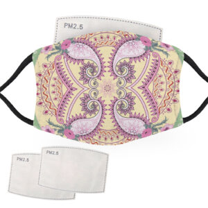Pink & Yellow Bandana Design – Child Face Masks – 2 Filters Included