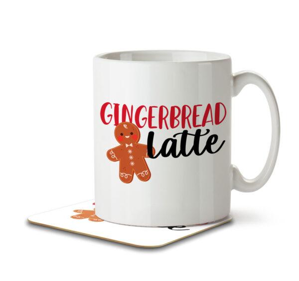 Gingerbread Latte - Christmas Coffee - Mug and Coaster - MNC FUN 086 WHITE