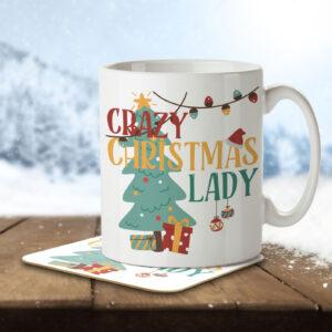 Crazy Christmas Lady – Mug and Coaster