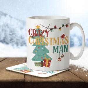 Crazy Christmas Man – Mug and Coaster