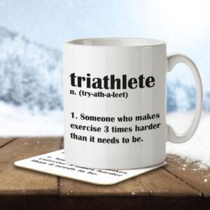 Triathlete Funny Definition – Mug and Coaster