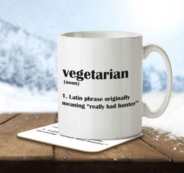 Vegetarian Funny Definition - Mug and Coaster - MNC FUN 108 ENV