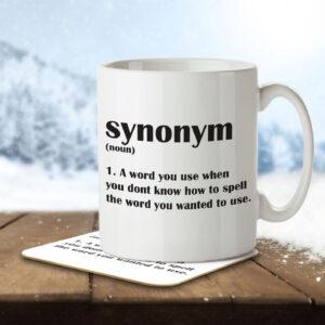 Synonym Funny Definition – English Students, Teachers – Mug and Coaster