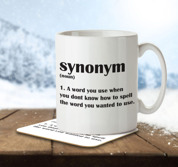 Synonym Funny Definition - English Students, Teachers - Mug and Coaster - MNC FUN 110 ENV