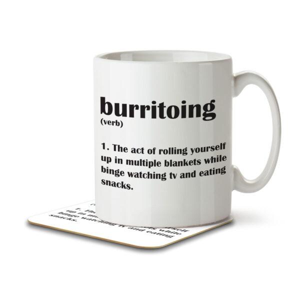 Burritoing Funny Definition - Couch Burrito - Mug and Coaster - MNC FUN 112 WHITE