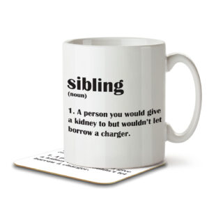 Sibling Funny Definition – Mug and Coaster